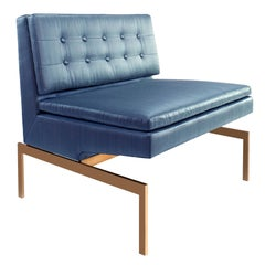 Mancini Chair with Bronze Base and Blue Silk Strié