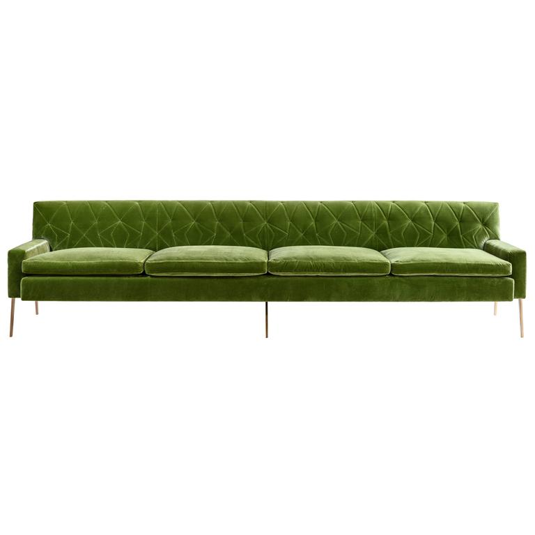 Mayweather Sofa 2.0 with Tufted Silk Velvet Back in Leaf Green and Bronze Legs