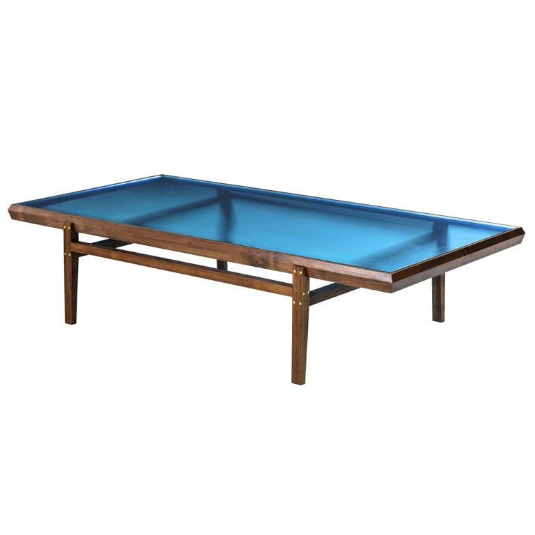 Pintor Coffee Table, Walnut Frame with Brass Inlay, Blue Glass Top For Sale