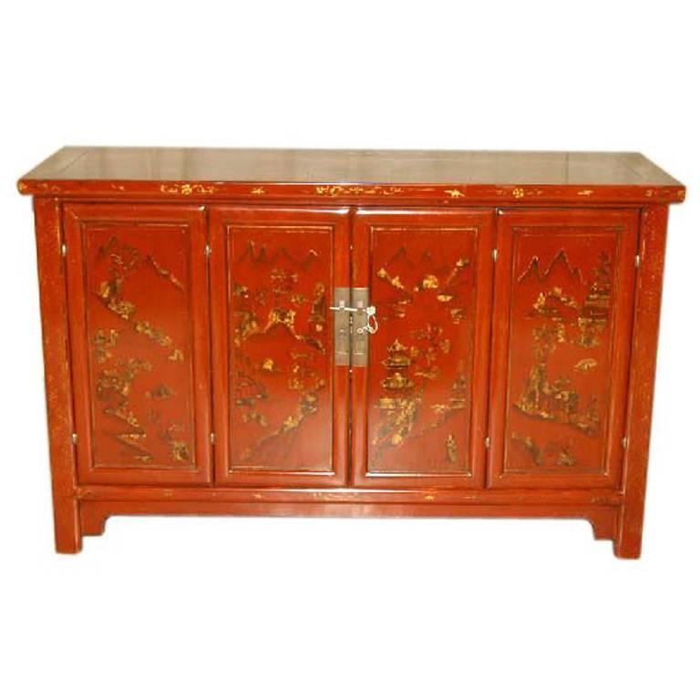 Elegant red lacquer sideboard with gold gilt landscape for Sideboard gold