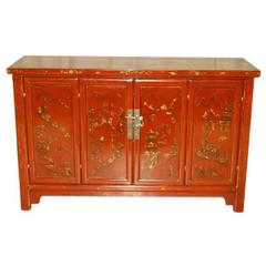 Elegant Red Lacquer Sideboard with Gold Gilt Landscape Motif