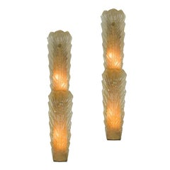Pair of Large Gold Dust Murano Sconces