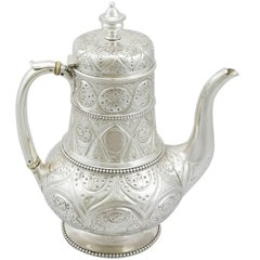 Victorian Sterling Silver Coffee Pot by John Hunt & Robert Roskell