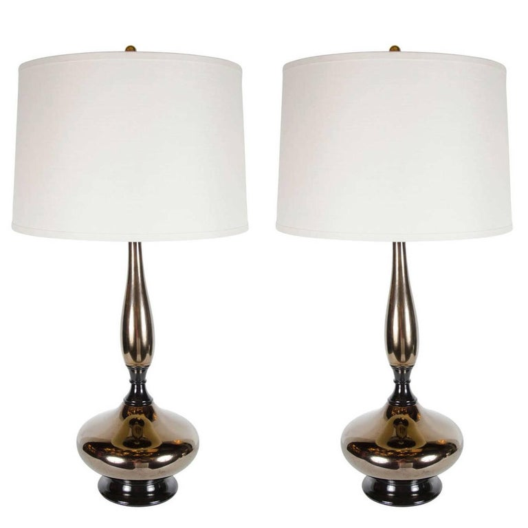 Mid-Century Modernist Stylized Hourglass Form Table Lamp in Bronze Ceramic