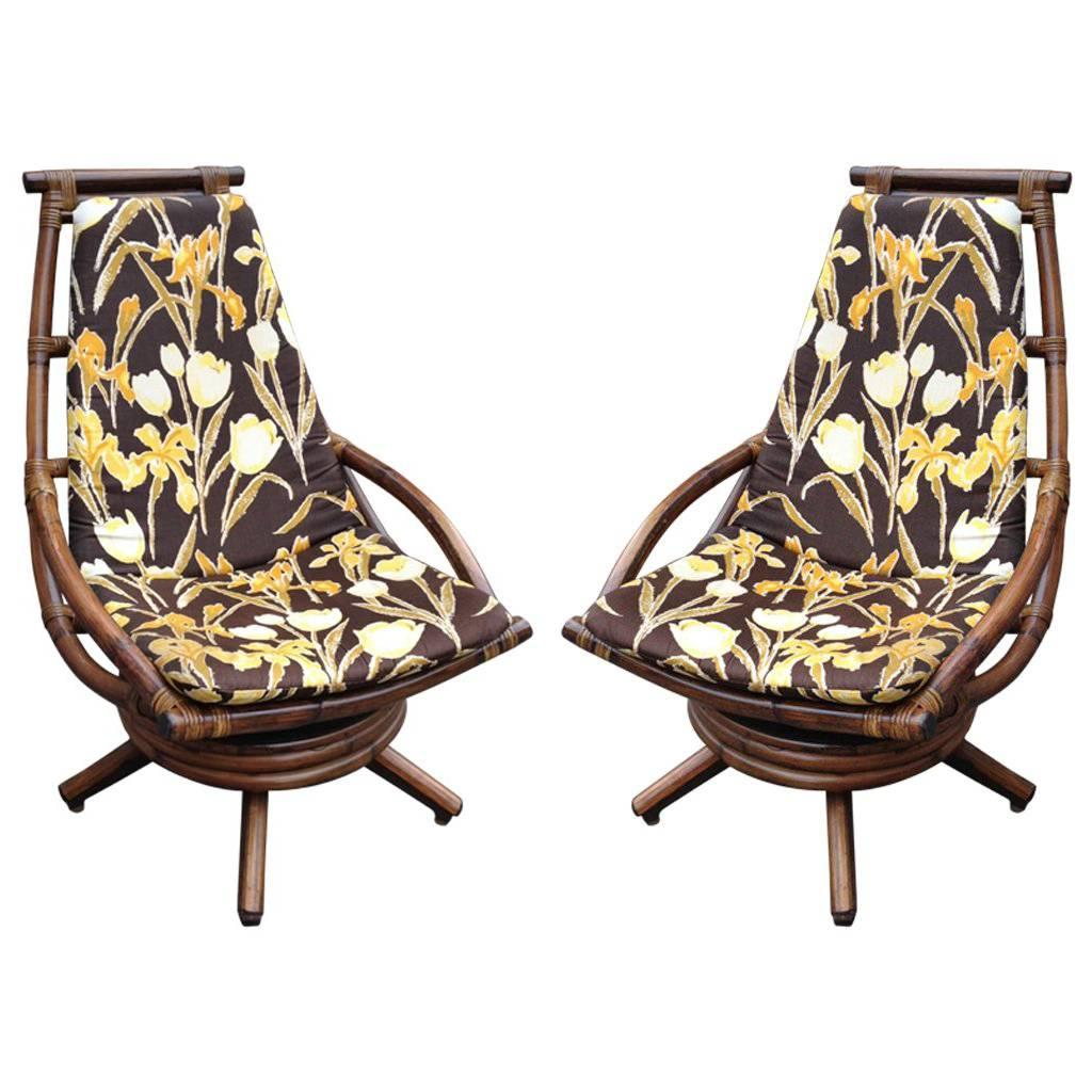 Pair Of Vintage Rattan Swivel Lounge Chairs