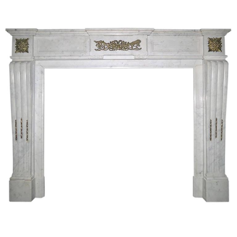 Antique French Louis XVI Style Marble with Ormolu Fireplace Mantel
