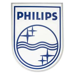 "Mid-Century Industrial Fluorescent ""Philips"" Sign, Netherlands"