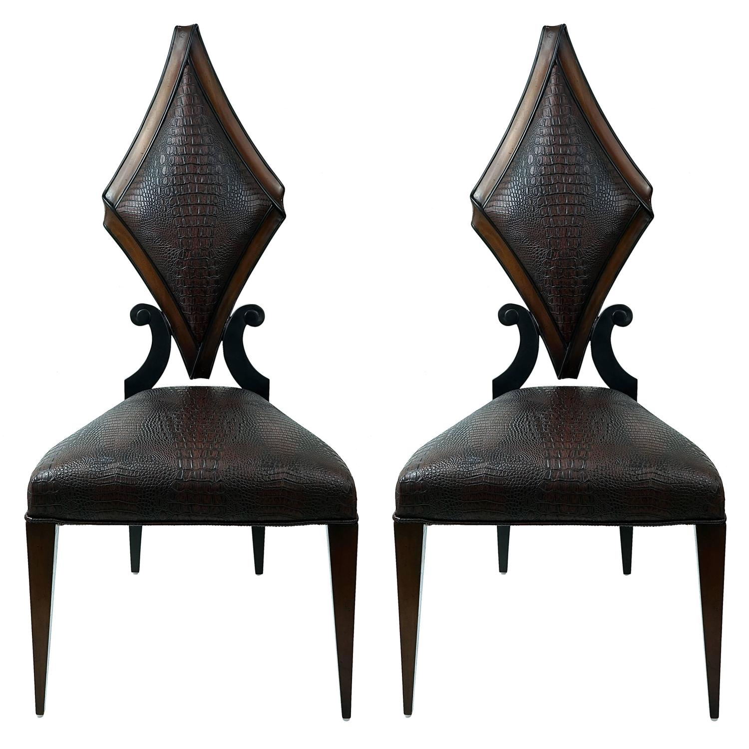 Pair of Art Deco Style Side Chairs in Faux Alligator by