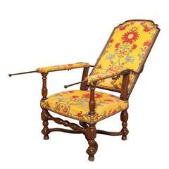 18th Century Walnut Fauteuil Malade Reclining Armchair