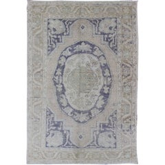 Vintage Medallion Oushak inspired by Ottoman Design in Taupe, Gray & Purple