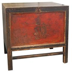 Mid-19th Century Q'ing Dynasty Mongolian Trunk with Original Golden Painting