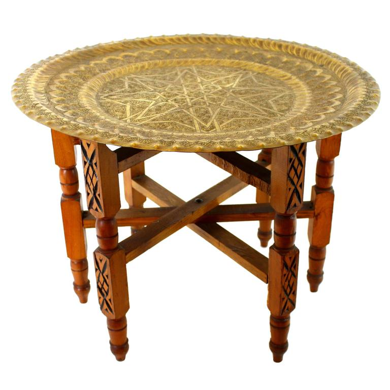 Traditional Moroccan Brass and Wood Tray Table