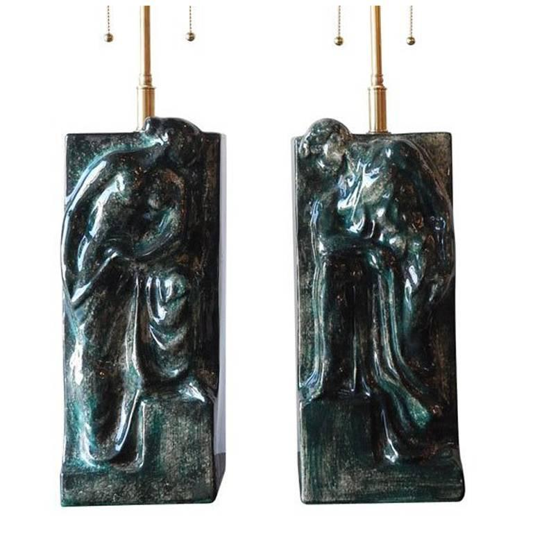 Pair of Figural Ceramic Table Lamps For Sale