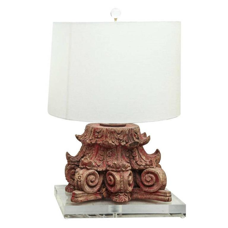 Lamp Fashioned from 19th Century Carved Capital