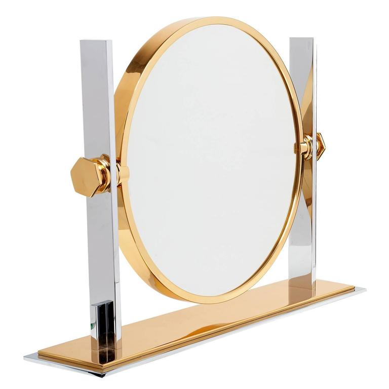 Polished Steel And Brass Vanity Mirror By Karl Springer At