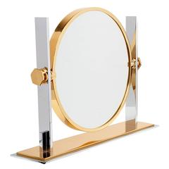 Polished Steel and Brass Vanity Mirror by Karl Springer
