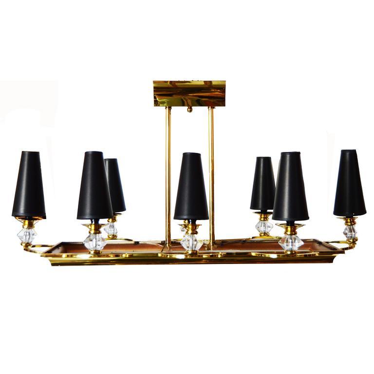 Maison Petitot Rectangular Eight Lights Chandelier. Pair available.