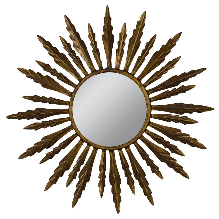 Spanish 1940s Gilt Metal Sunburst Mirror