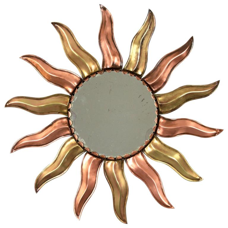 French Mid-Century Modern Copper and Brass Mini Sunburst Mirror For Sale