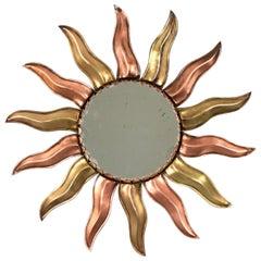 French Mid-Century Modern Copper and Brass Mini Sunburst Mirror