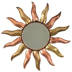 French Mid-Century Modern Copper and Brass Mini Sunburst Mirror