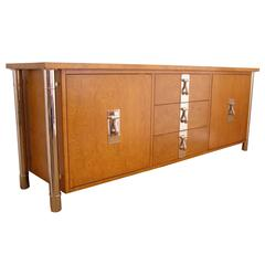 Mastercraft Burl and Nickel Four Column Credenza/ Sideboard/ Dresser