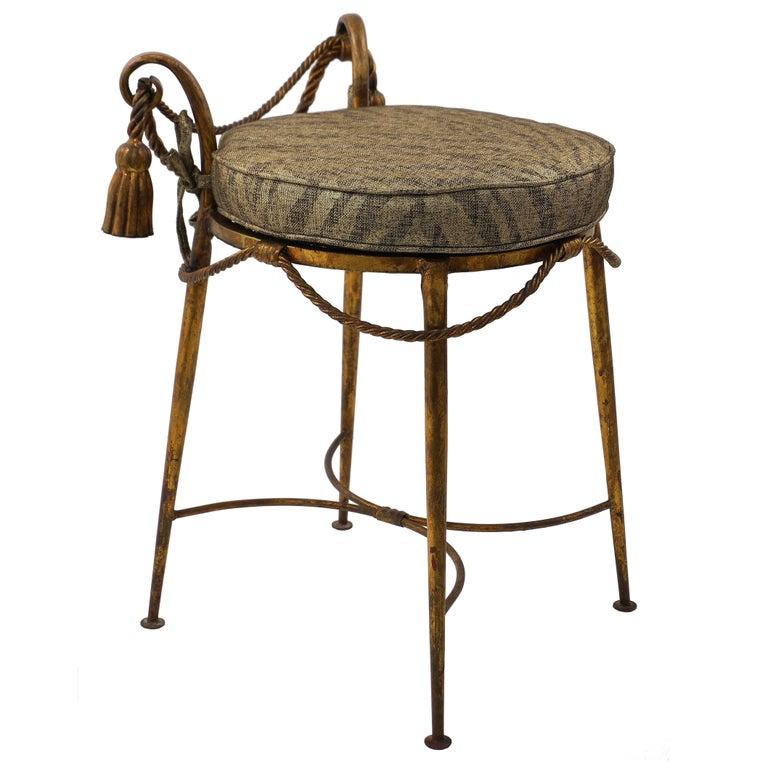 Brilliant Hollywood Regency Style Italian Florentine Gilt Metal Vanity Stool 1950S Gamerscity Chair Design For Home Gamerscityorg
