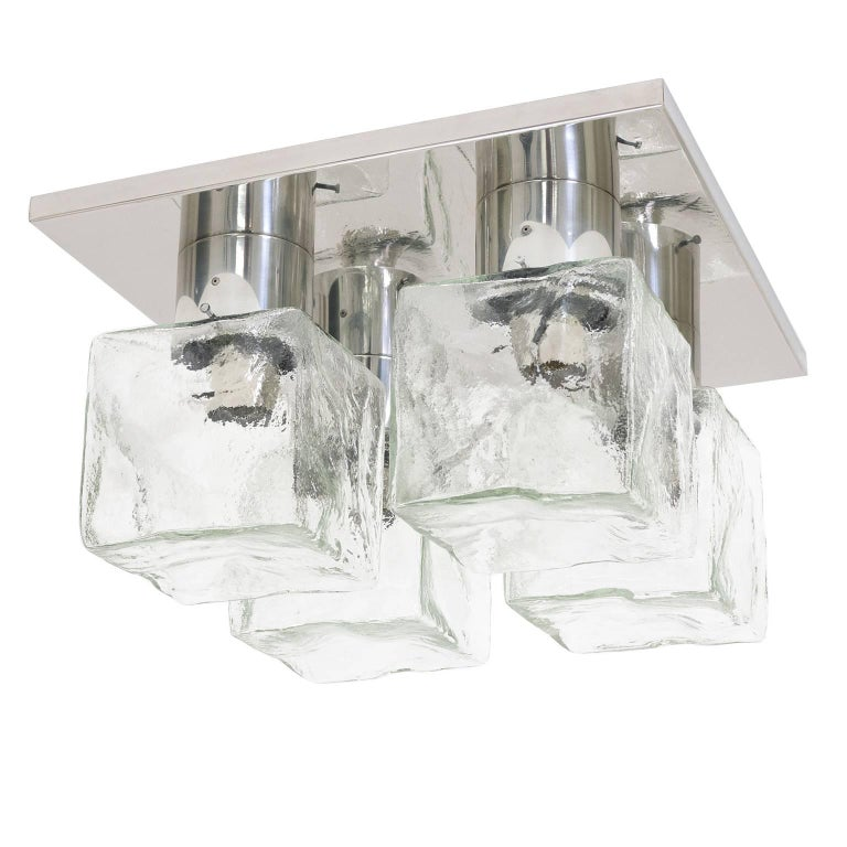 Kalmar Glass Ice Cube and Polished Steel Flush Mount, 1970s