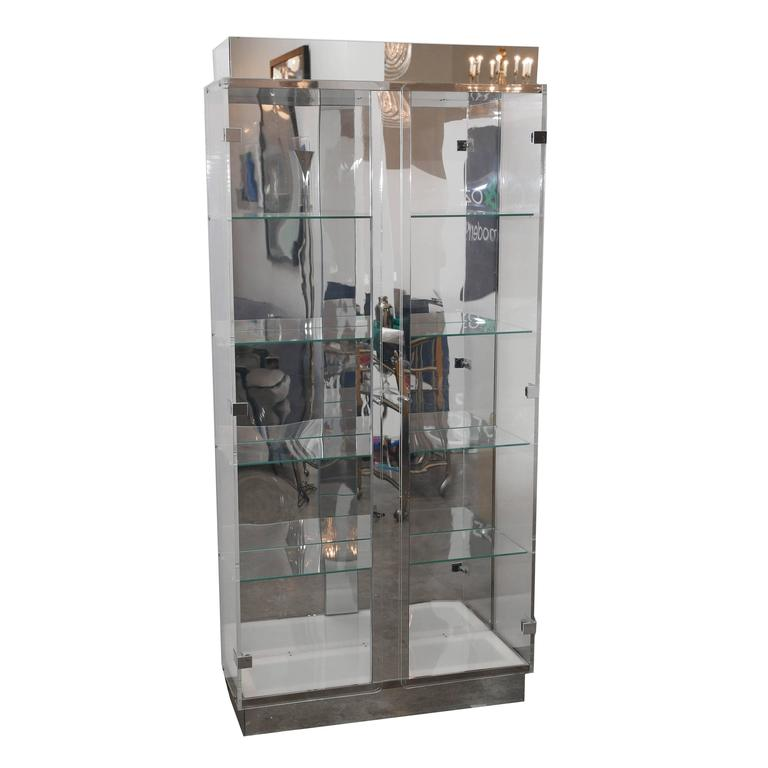 Tall Lucite Glass Mirror And Chrome Cabinet With Upper