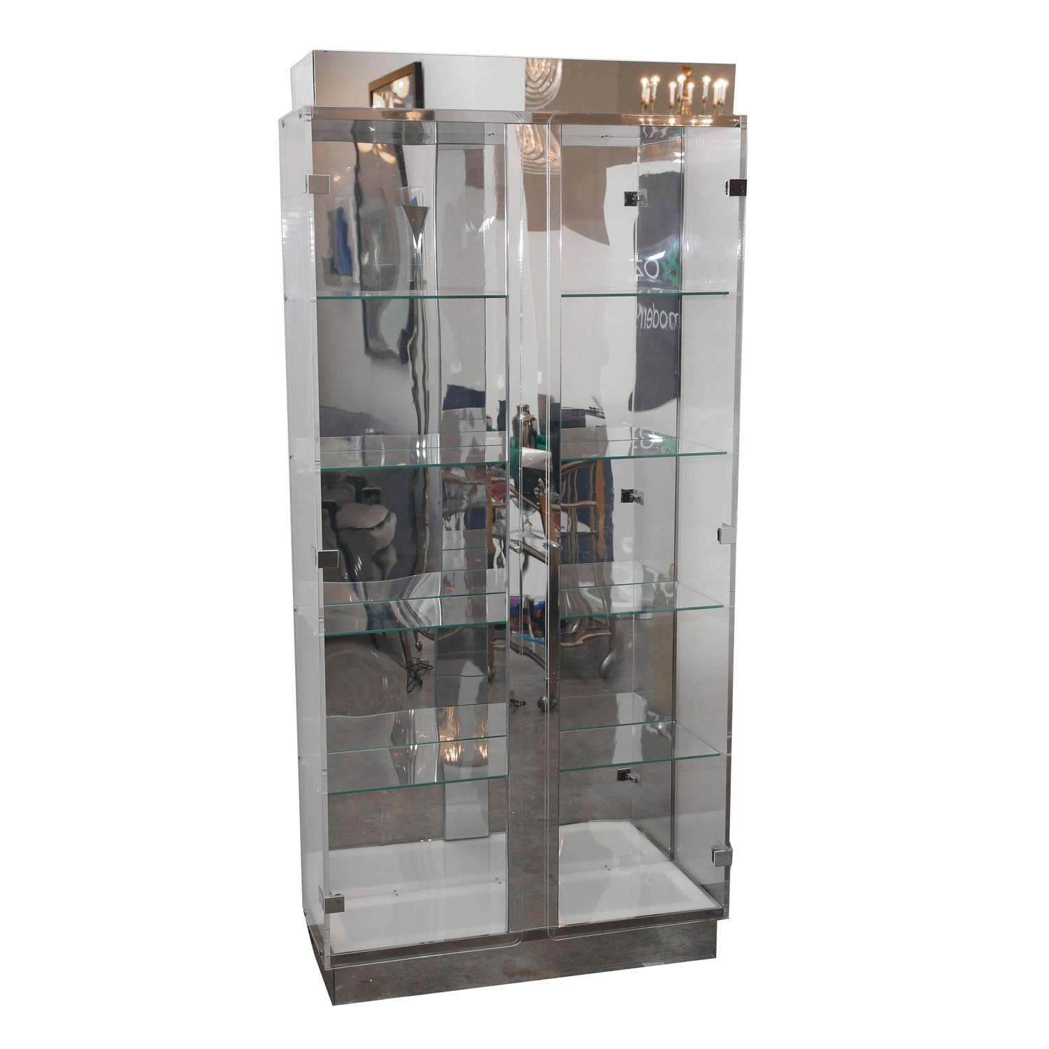 Tall lucite glass mirror and chrome cabinet with upper for Upper cabinets for sale