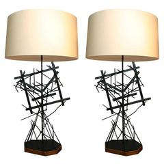 Pair of Italian Sculptural Table Lamps