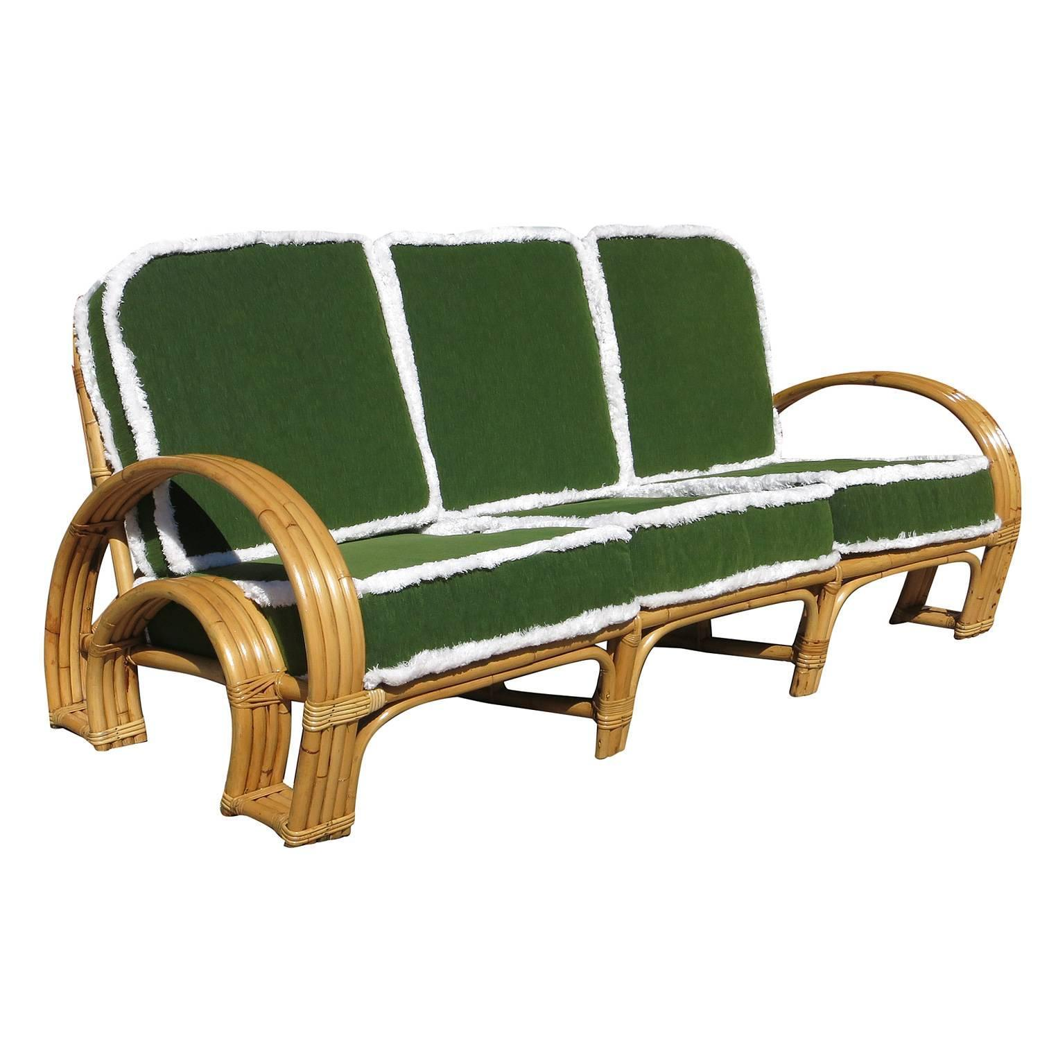 Paul Frankl Style Four Strand Horse Shoe Rattan Sofa At