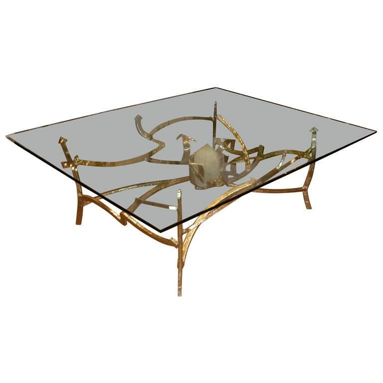 Very large 1976 dining table in bronze and quartz for sale for Quartz top dining table