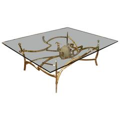 Very Large 1976 Dining Table in Bronze and Quartz