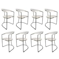 Set of Eight Italian White Leather Chairs with Gunmetal Frames by Arrben, 1980s