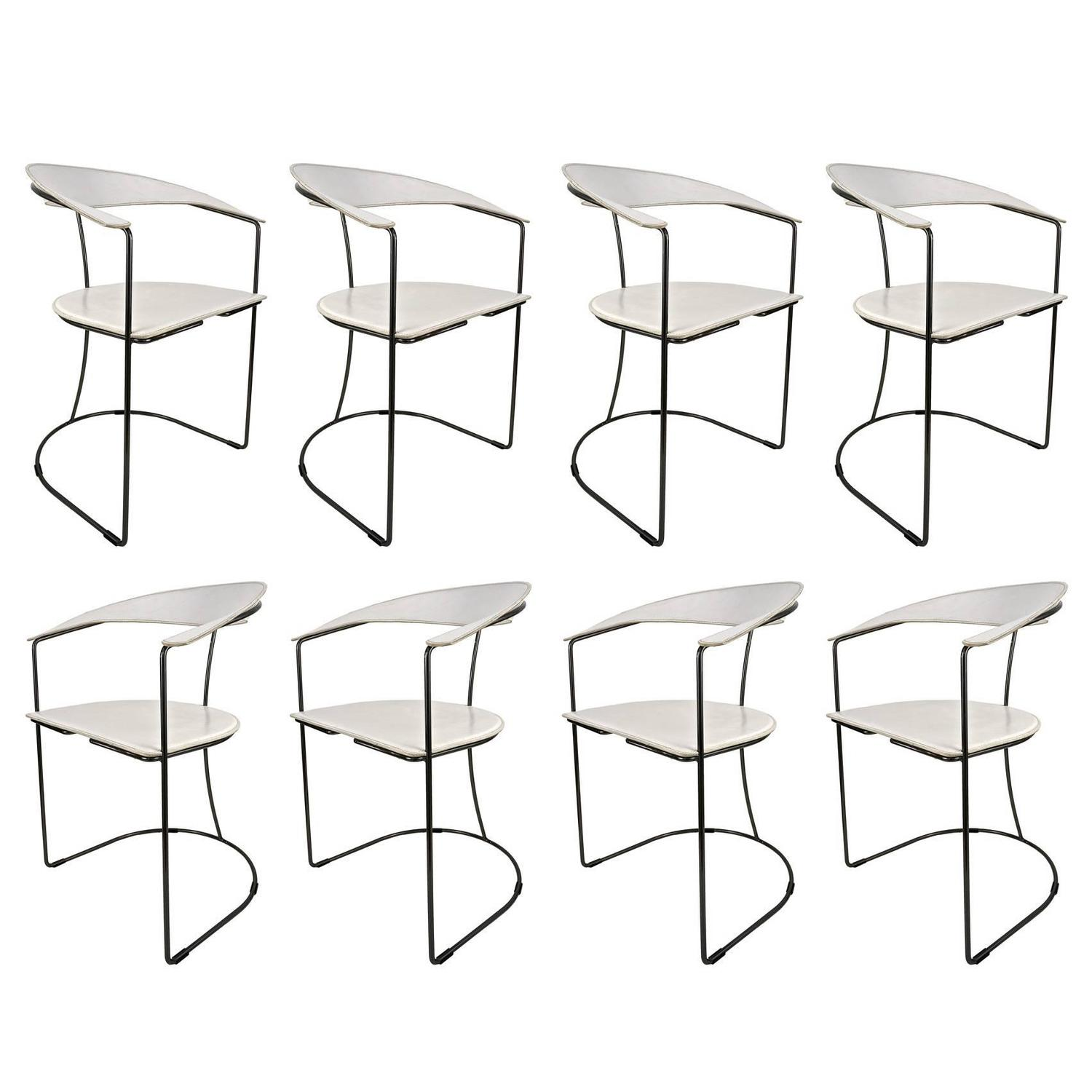 Set of Eight Italian White Leather Chairs with Gunmetal Frames by