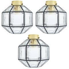 Set of Three Clear Glass Lantern Flush Mounts Lamps by Limburg, 1960