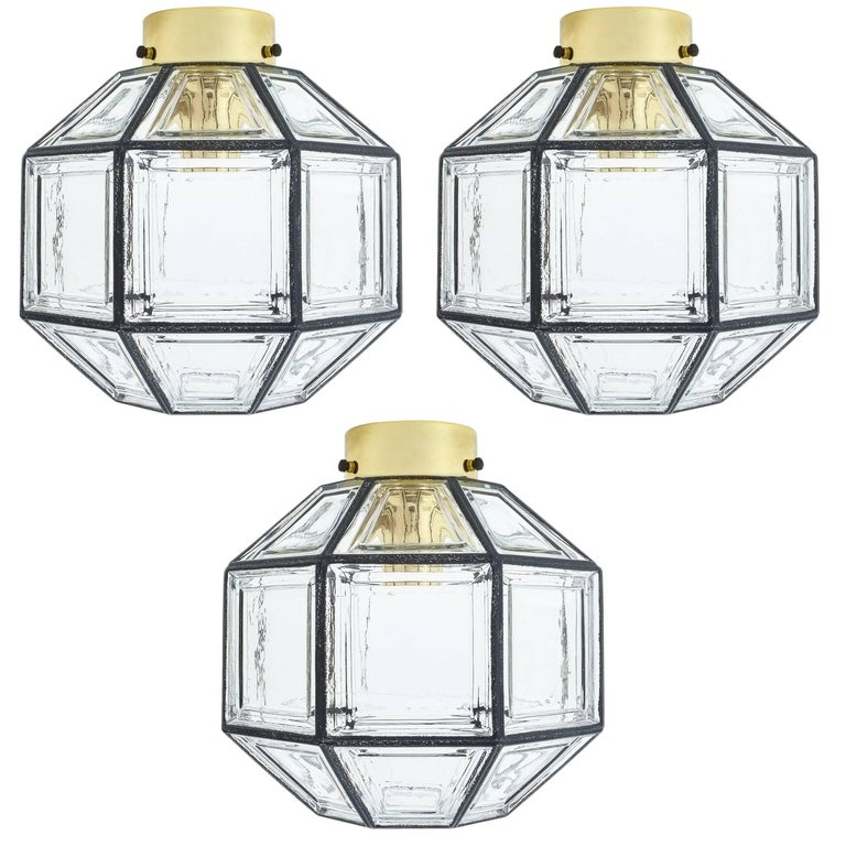 Set of Three Clear Glass Lantern Flush Mounts Lamps by Limburg, 1960 For Sale