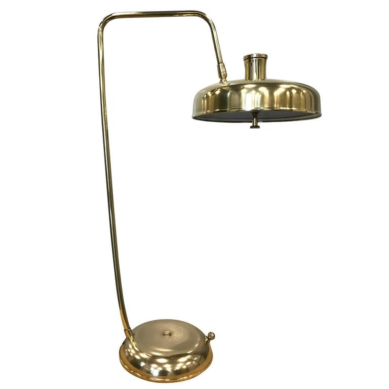 1950s Italian Polished Brass Desk Lamp