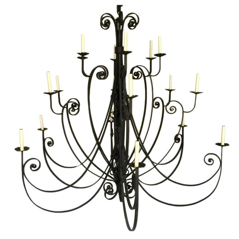 pair of large italian wrought iron chandeliers 1 - Wrought Iron Chandelier