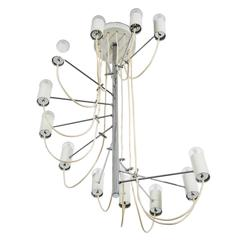 French MId-Century Minimalist 'A16' Chandelier by Alain Richard for Disderot
