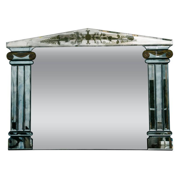 1940s French Églomisé Mirror with Columns
