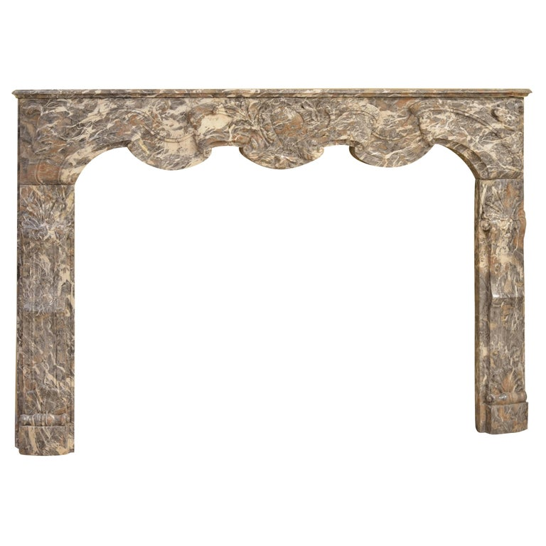 Antique Fireplace Mantel in Rouge Royal Marble For Sale