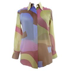 Chanel Silk Chiffon Monogrammed Multicolor Print Blouse