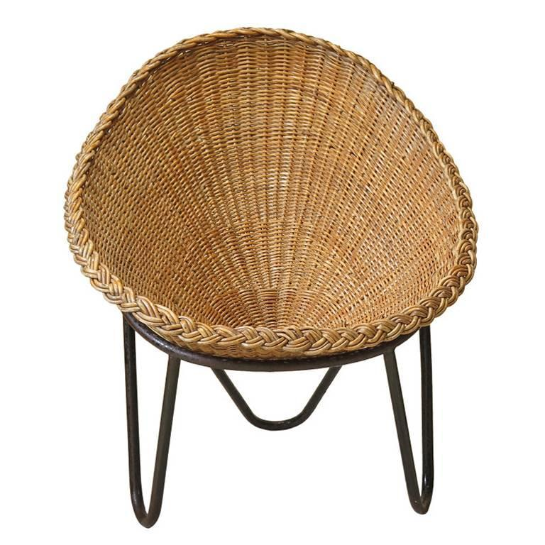 Wicker and Iron Lounge Chair, France, 1950s