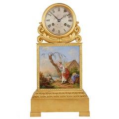 Ormolu and Painted Porcelain Mantel Clock by Raingo Frères