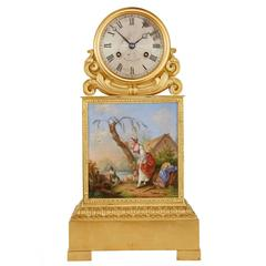 Ormolu and Painted Porcelain Mantel Clock by Raingo Frères