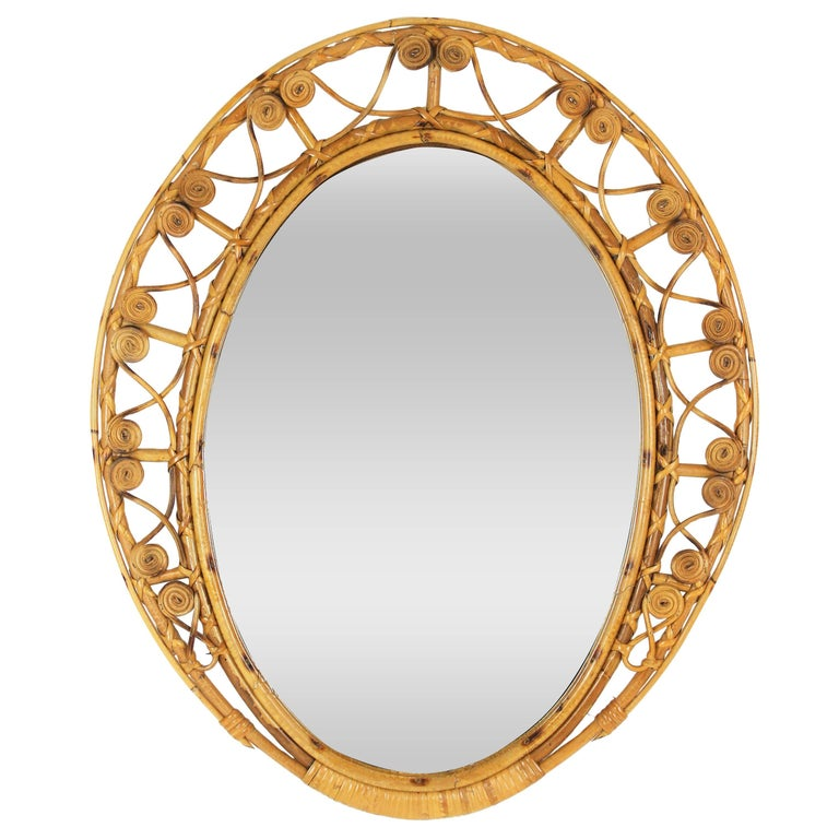 Spanish 1950s Bamboo and Wicker Oval Mirror with Filigree Frame