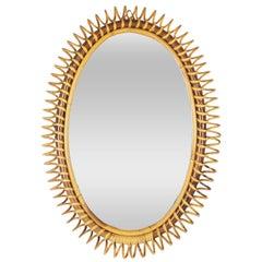 1950s Italian Riviera Spiral Bamboo and Rattan Oval Mirror