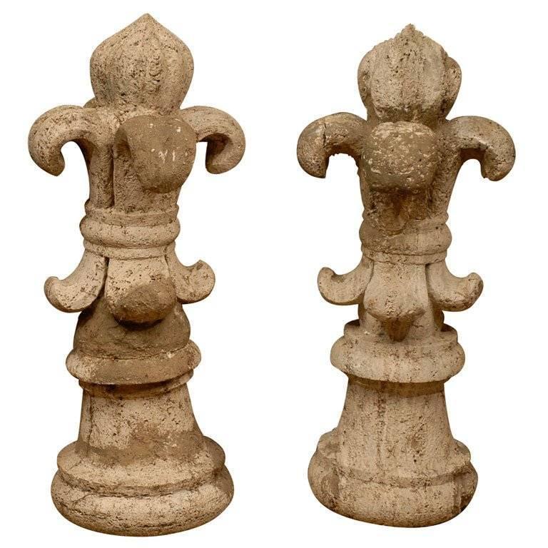Pair of 18th Century French Stone Fleur-de-lis Finials